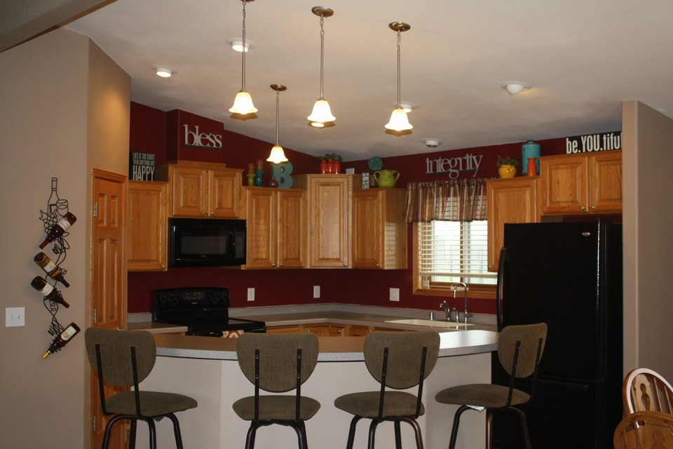 kitchen area open to dining room and living room