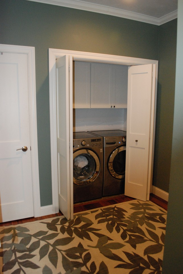 laundry off the kitchen area and enters to garage