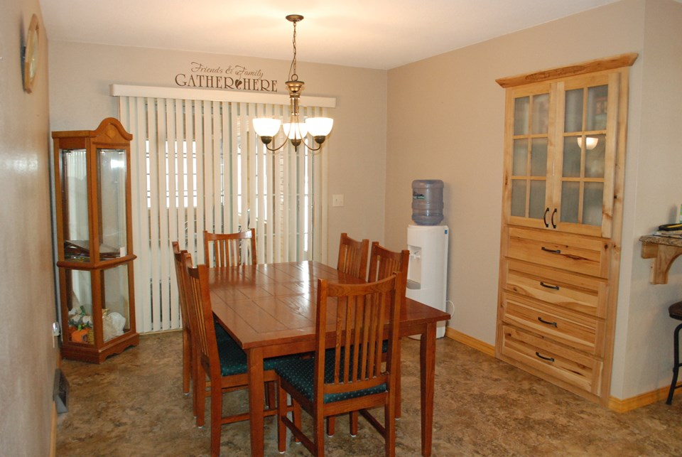 dining room with 3 season porch attached